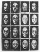"Untitled Faces, Etching, edition of five, three varied artist proofs, 9""x12"", 100.00"