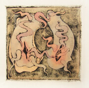 Copulating Forms Study, collagraph, tea, watercolour, varied edition of 20, 5x5, 50.00