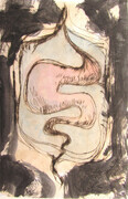 Untitled, acrylic, drypoint, chine colle, one of five variable edition on Stonehenge paper.